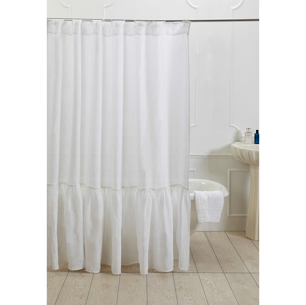 Caprice Linen Shower Curtain White Amity Home