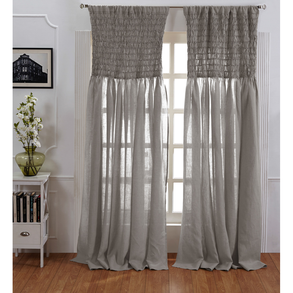 Ruched Linen Curtain Grey Chambray 120 Quot Custom Amity